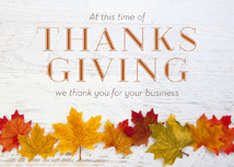 Fall Leaf Line-up Business Thanksgiving Cards